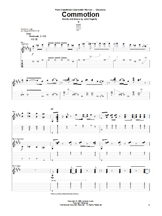Tablature guitare Commotion de Creedence Clearwater Revival - Tablature Guitare