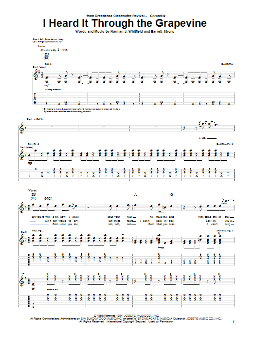 Tablature guitare I Heard It Through The Grapevine de Creedence Clearwater Revival - Tablature Guitare