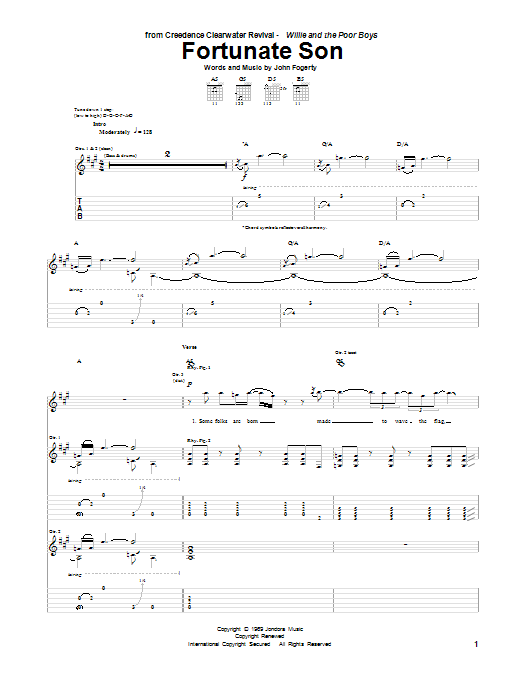 Tablature guitare Fortunate Son de Creedence Clearwater Revival - Tablature Guitare