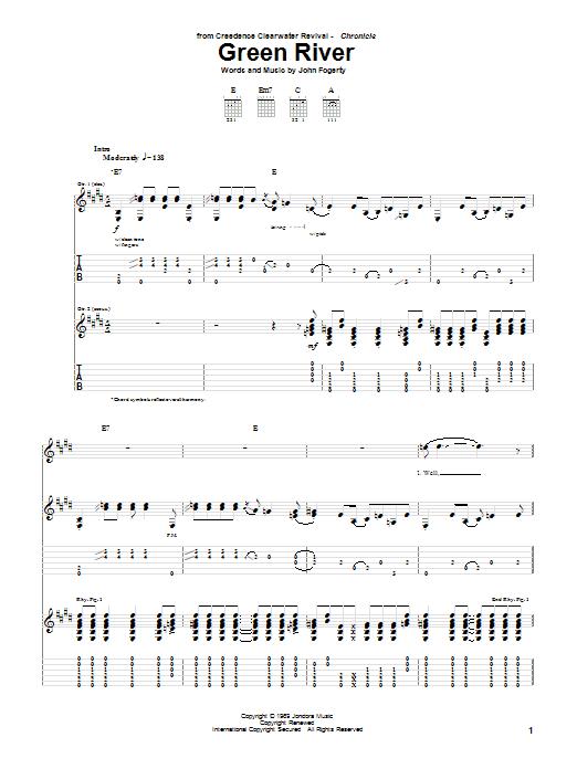 Tablature guitare Green River de Creedence Clearwater Revival - Tablature Guitare