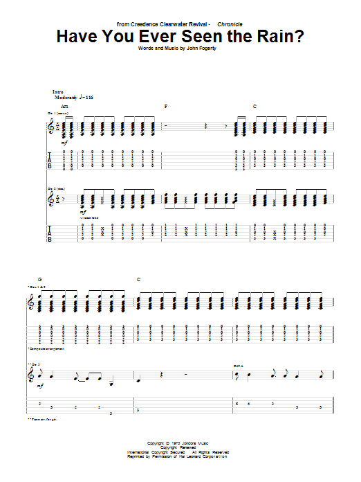 Tablature guitare Have You Ever Seen The Rain? de Creedence Clearwater Revival - Tablature Guitare