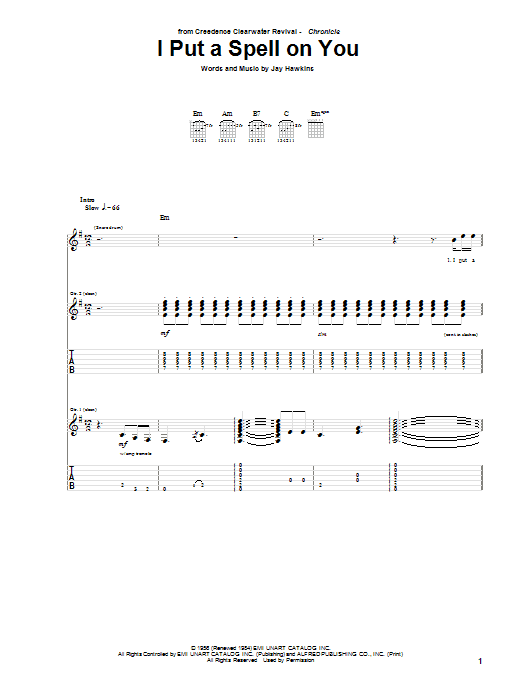 Tablature guitare I Put A Spell On You de Creedence Clearwater Revival - Tablature Guitare
