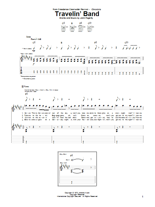 Tablature guitare Travelin' Band de Creedence Clearwater Revival - Tablature Guitare