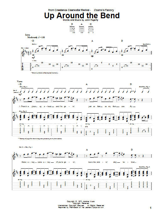 Tablature guitare Up Around The Bend de Creedence Clearwater Revival - Tablature Guitare