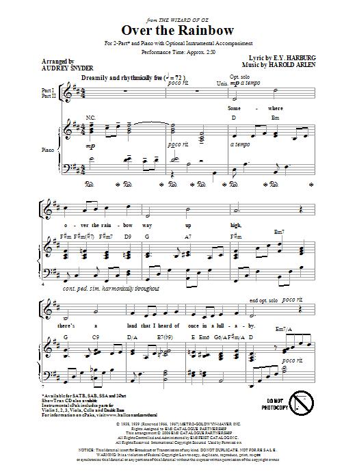 Partition chorale Over The Rainbow de Audrey Snyder - 2 voix