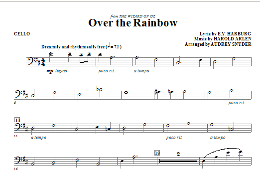 Over The Rainbow - Cello | Sheet Music Direct