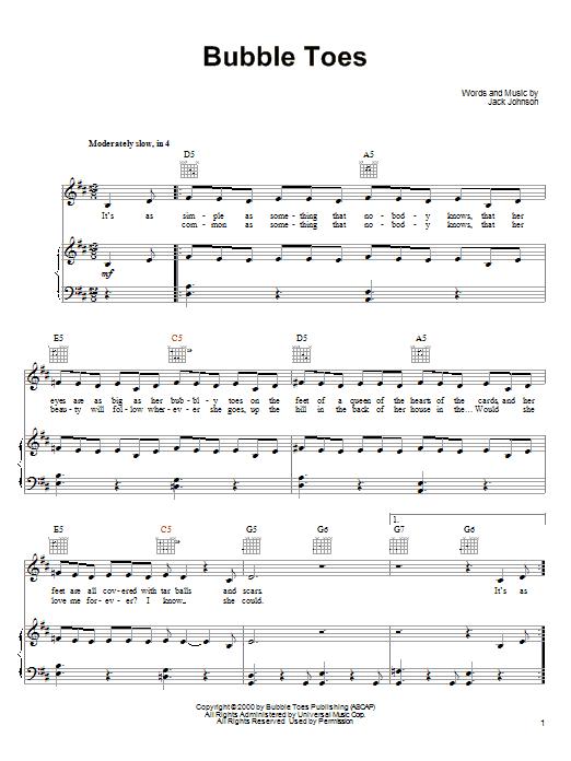 Jack Johnson - Bubble Toes Lyrics | MetroLyrics