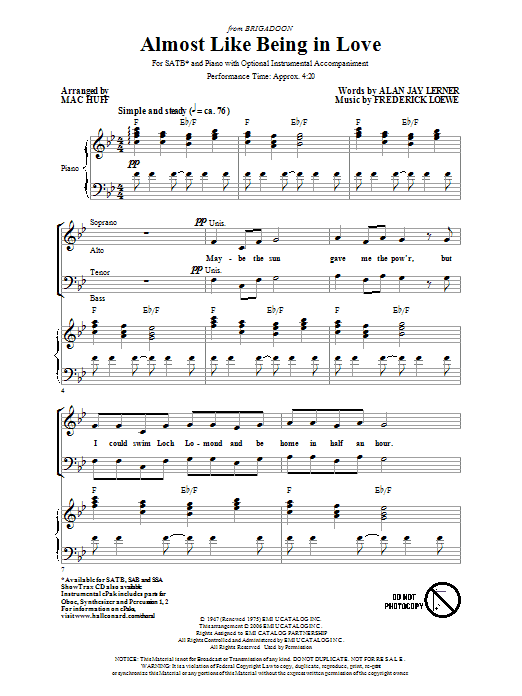 Partition chorale Almost Like Being In Love de Mac Huff - SATB