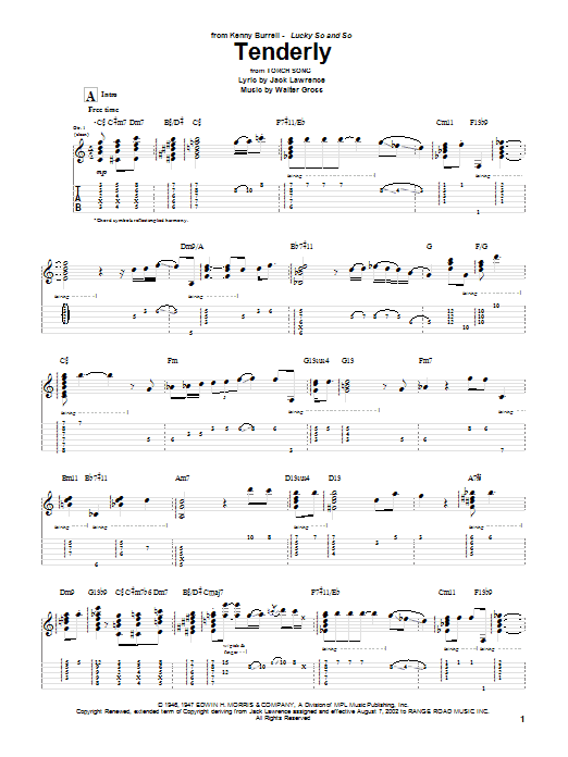 Tablature guitare Tenderly de Kenny Burrell - Tablature Guitare