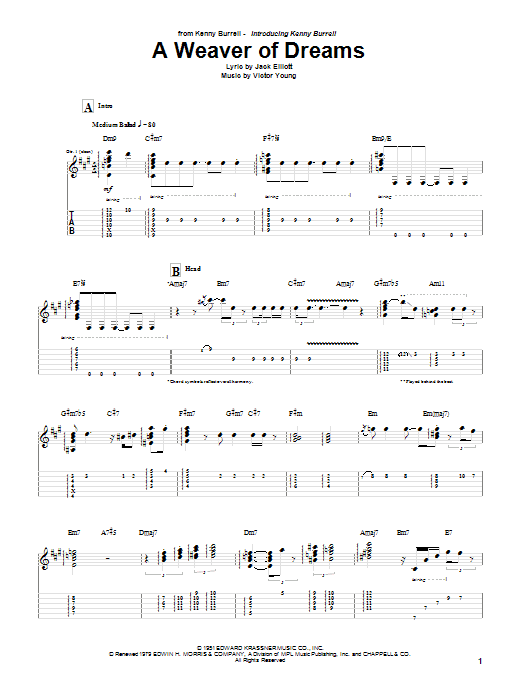 A Weaver Of Dreams sheet music for guitar solo (tablature) by Victor Young