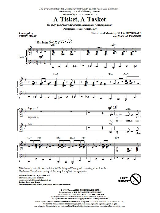 Partition chorale A-Tisket, A-Tasket de Manhattan Transfer - SSA