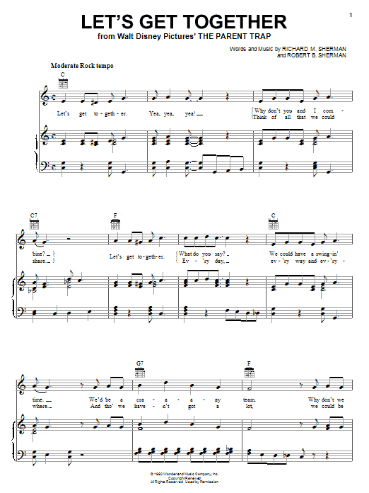 Let's Get Together Sheet Music