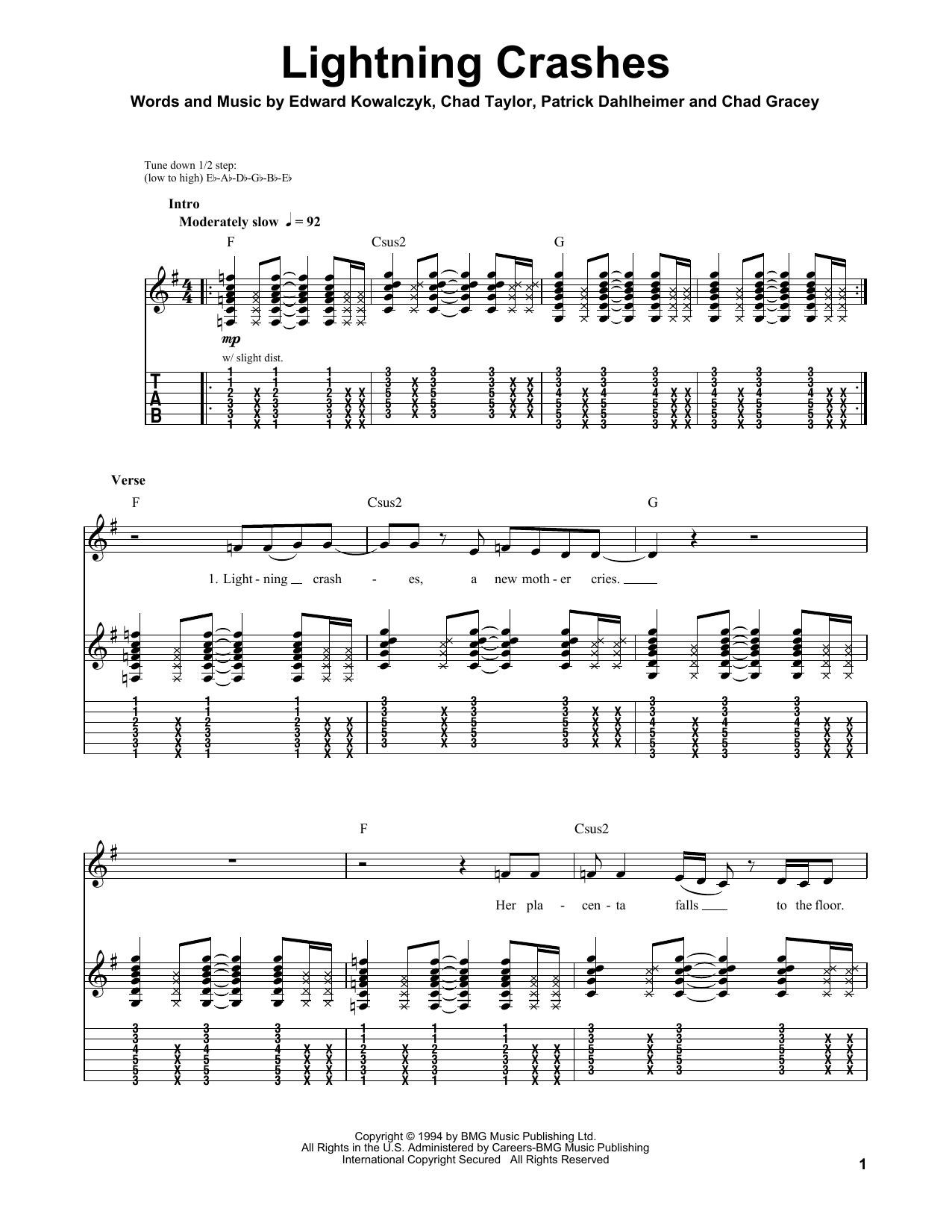 Tablature guitare Lightning Crashes de Live - Tablature Guitare