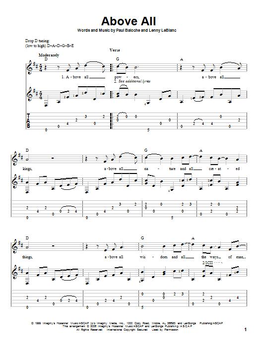 Tablature guitare Above All de Paul Baloche - Tablature Guitare