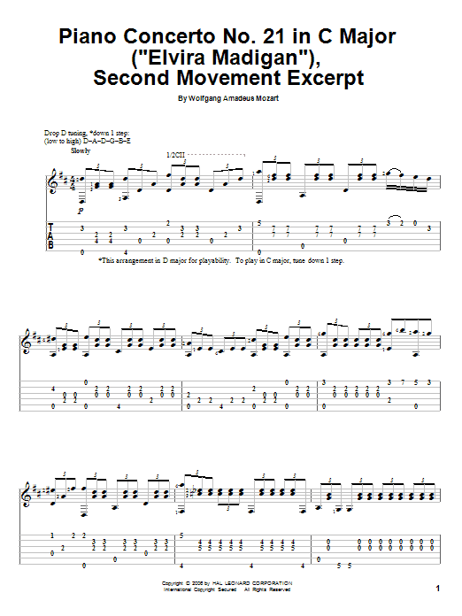 "Tablature guitare Piano Concerto No. 21 in C Major (""Elvira Madigan""), Second Movement Excerpt de Wolfgang Amadeus Mozart - Tablature Guitare"