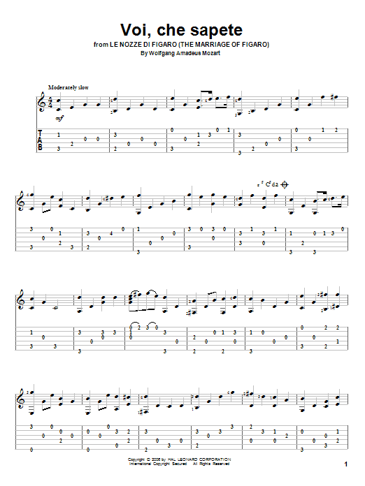 Tablature guitare Voi, Che Sapete de Wolfgang Amadeus Mozart - Tablature Guitare