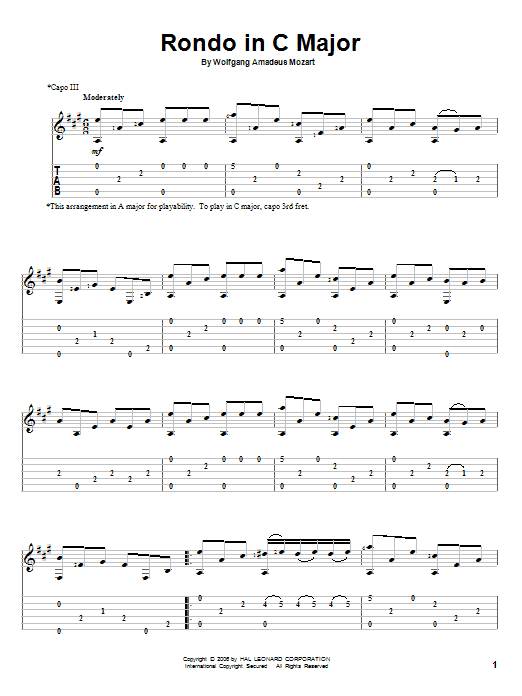 Rondo In C Major sheet music for guitar solo by Wolfgang Amadeus Mozart