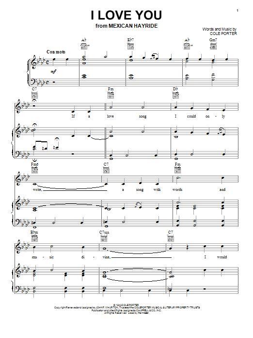 Partition piano I Love You de Cole Porter - Piano Voix Guitare (Mélodie Main Droite)