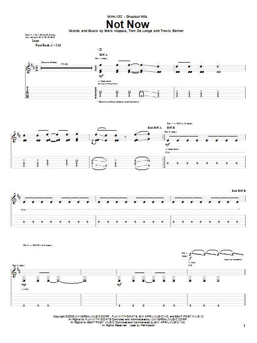 Tablature guitare Not Now de Blink-182 - Tablature Guitare