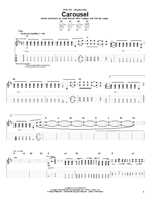 Tablature guitare Carousel de Blink-182 - Tablature Guitare