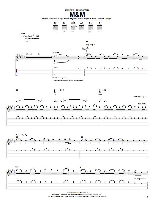 Tablature guitare M&M de Blink-182 - Tablature Guitare