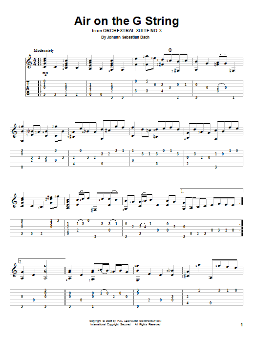 Tablature guitare Air On The G String de Johann Sebastian Bach - Tablature Guitare