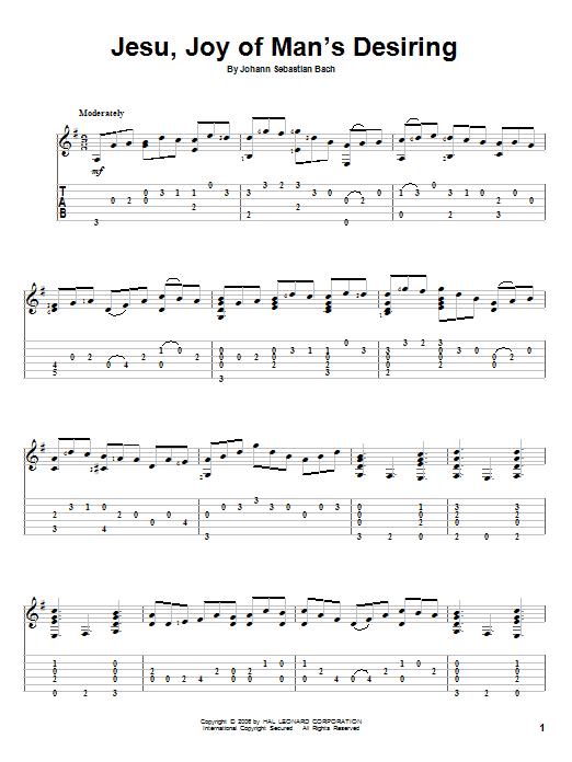 Tablature guitare Jesu, Joy Of Man's Desiring de Johann Sebastian Bach - Tablature Guitare