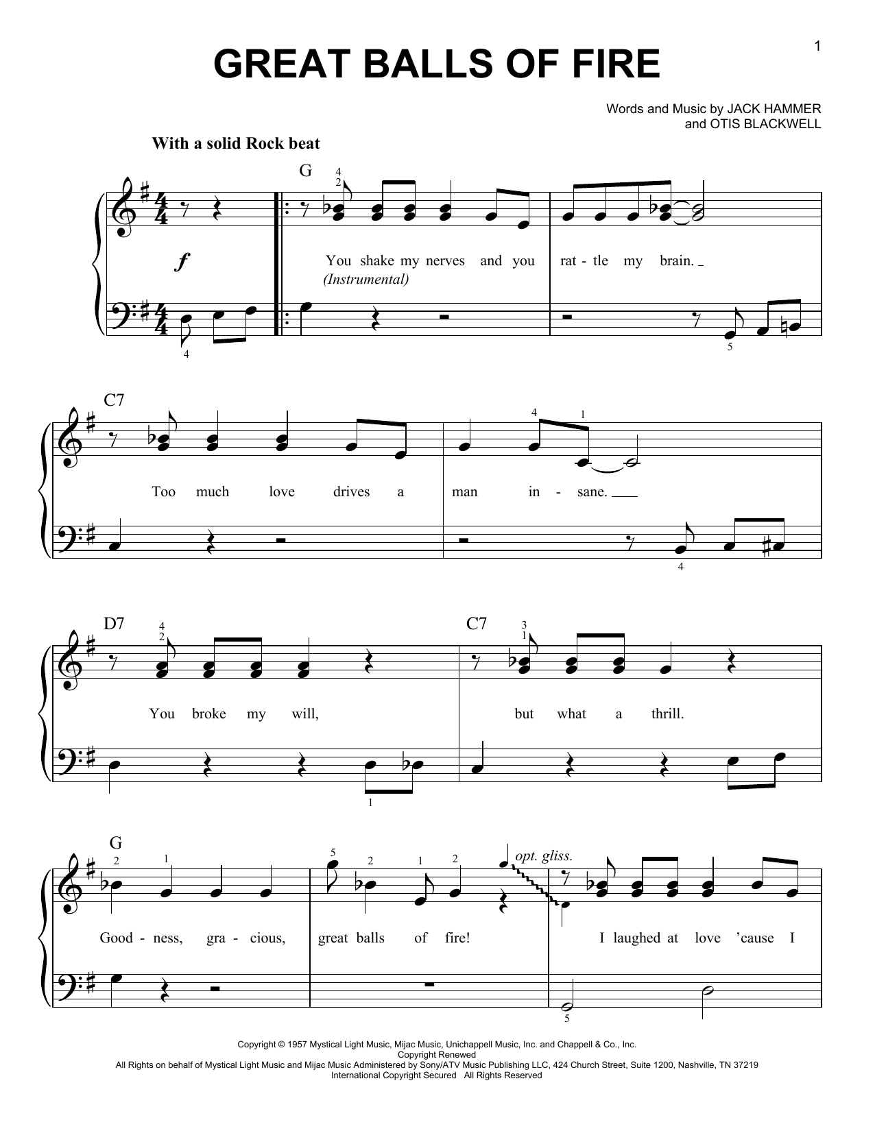 Partition piano Great Balls Of Fire de Jerry Lee Lewis - Piano Facile