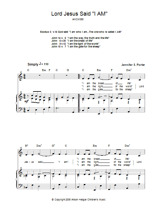 Lord Jesus Said 'I Am' sheet music for voice, piano or guitar by Jennifer S. Porter