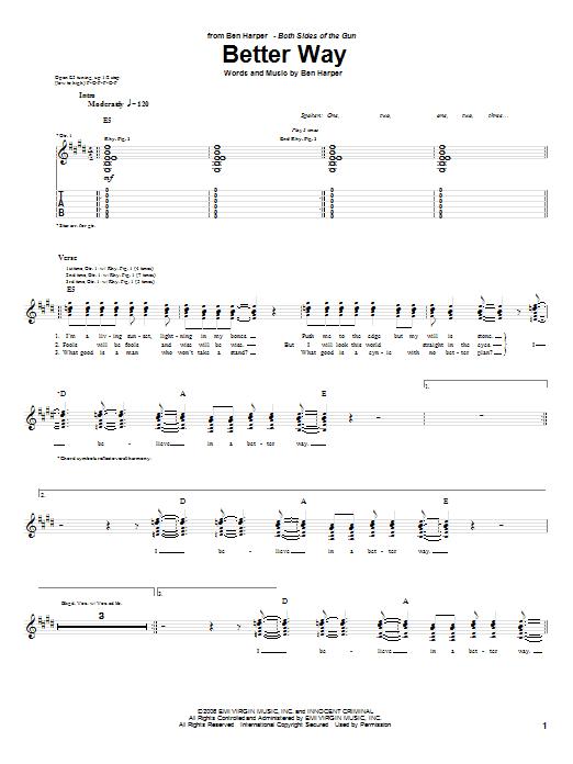 Tablature guitare Better Way de Ben Harper - Tablature Guitare