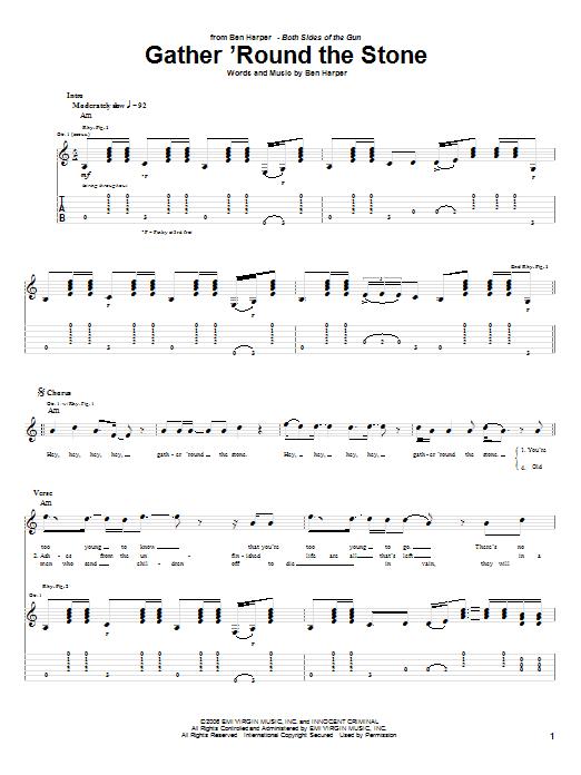 Tablature guitare Gather 'Round The Stone de Ben Harper - Tablature Guitare