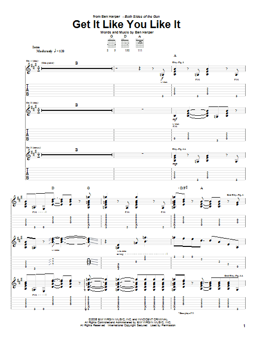 Tablature guitare Get It Like You Like It de Ben Harper - Tablature Guitare