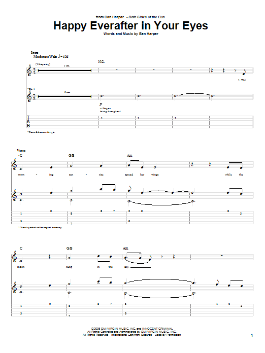 Tablature guitare Happy Everafter In Your Eyes de Ben Harper - Tablature Guitare