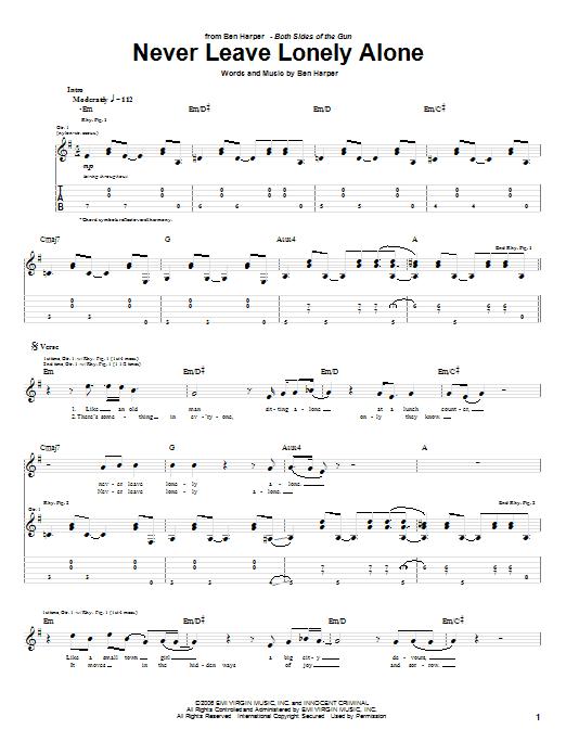 Tablature guitare Never Leave Lonely Alone de Ben Harper - Tablature Guitare