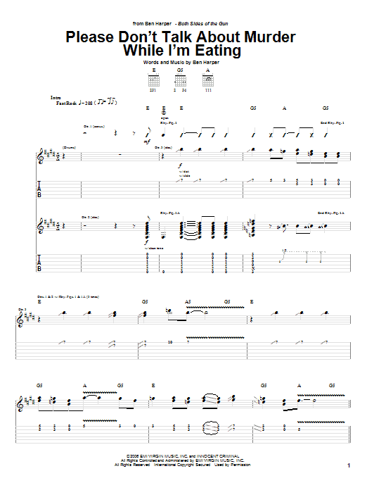 Tablature guitare Please Don't Talk About Murder While I'm Eating de Ben Harper - Tablature Guitare