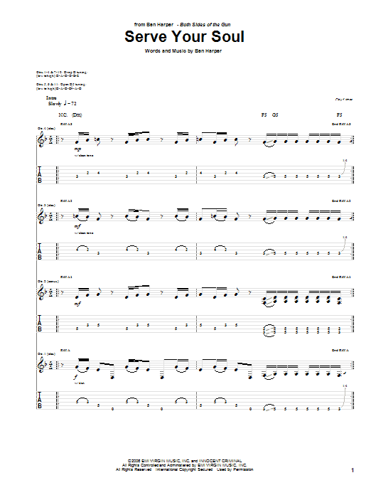 Tablature guitare Serve Your Soul de Ben Harper - Tablature Guitare