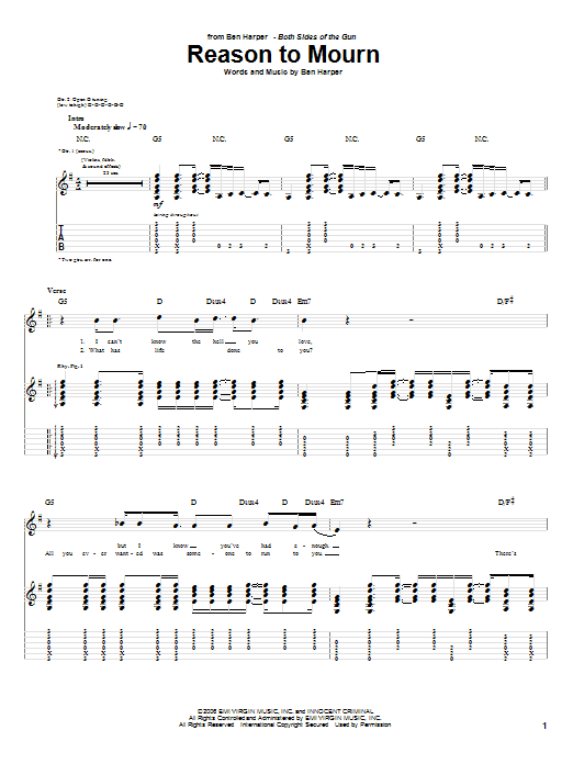 Tablature guitare Reason To Mourn de Ben Harper - Tablature Guitare