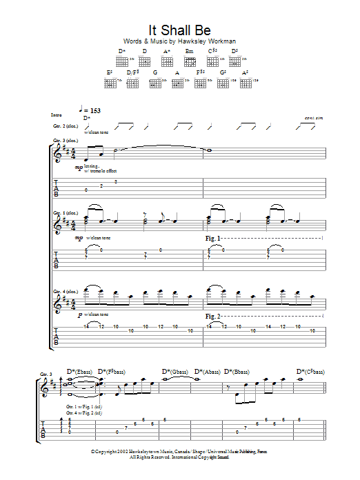 It Shall Be sheet music for guitar solo (tablature) by Hawksley Workman