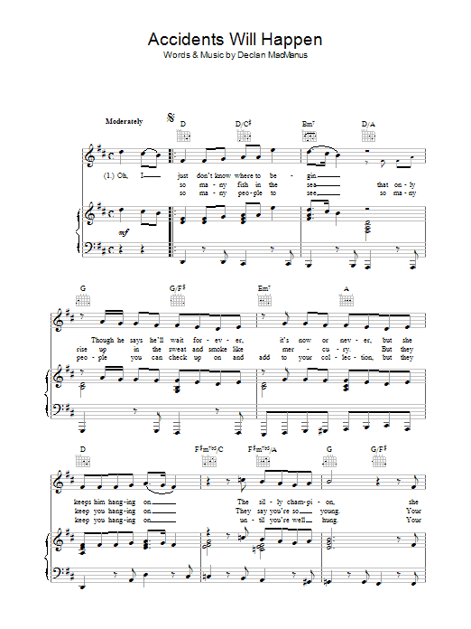 Accidents Will Happen sheet music for voice, piano or guitar by Declan Macmanus