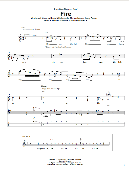 Tablature guitare Fire de Ohio Players - Tablature Basse
