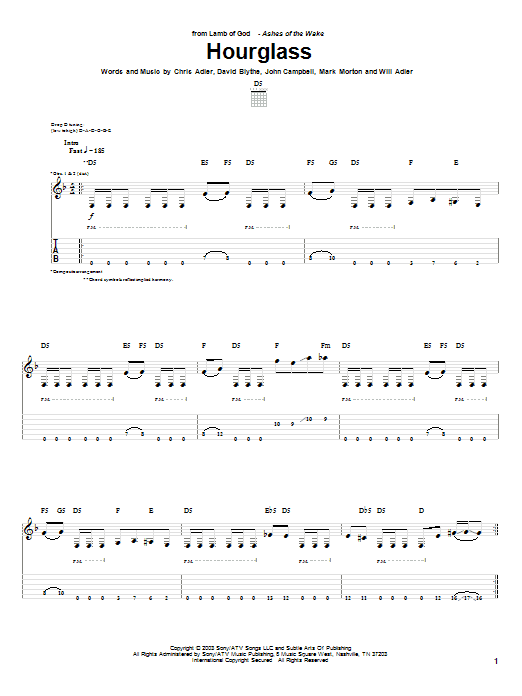 Tablature guitare Hourglass de Lamb of God - Tablature Guitare