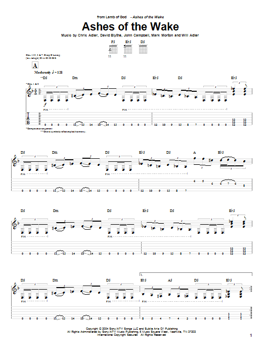 Tablature guitare Ashes Of The Wake de Lamb of God - Tablature Guitare