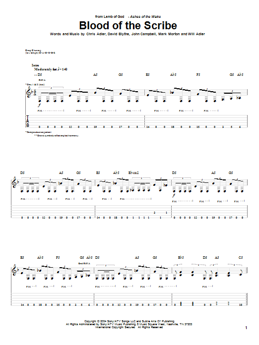 Tablature guitare Blood Of The Scribe de Lamb of God - Tablature Guitare
