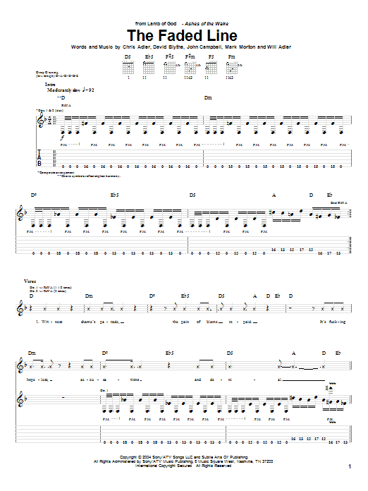 Tablature guitare The Faded Line de Lamb of God - Tablature Guitare