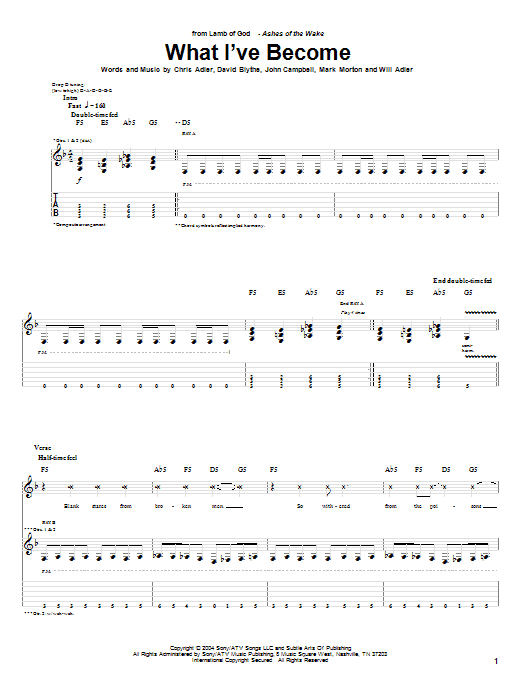 Tablature guitare What I've Become de Lamb of God - Tablature Guitare