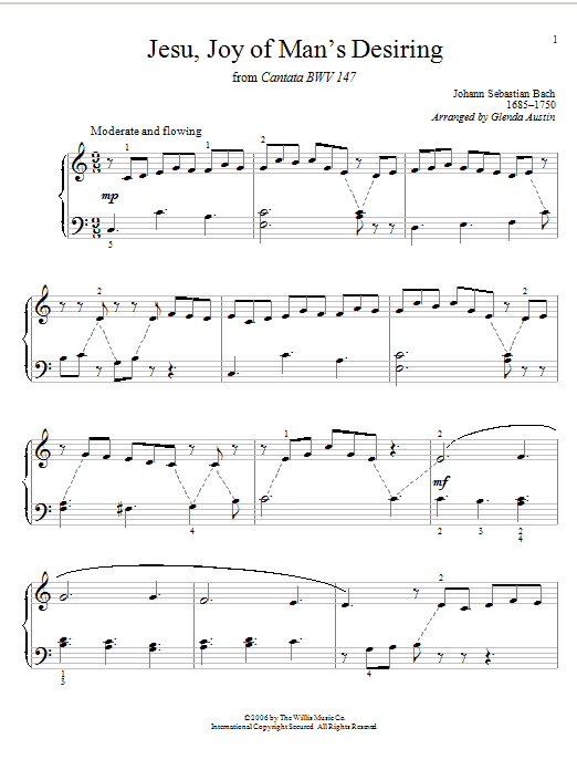 Partition piano Jesu, Joy Of Man's Desiring (from Cantata 147) de Johann Sebastian Bach - Piano Facile