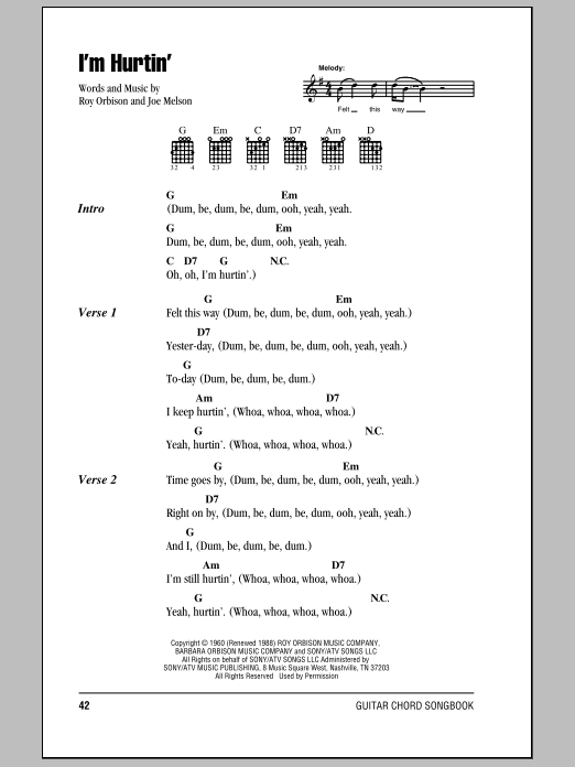 I'm Hurtin' sheet music for guitar solo (chords, lyrics, melody) by Joe Melson