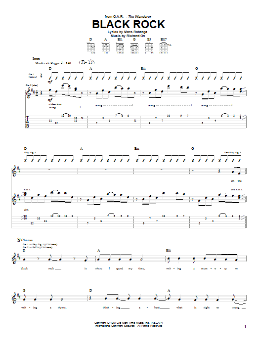 Tablature guitare Black Rock de O.A.R. - Tablature Guitare