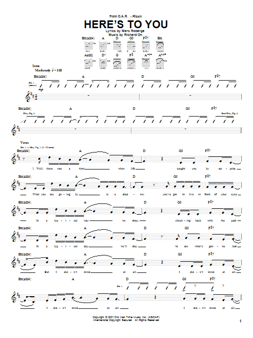 Tablature guitare Here's To You de O.A.R. - Tablature Guitare