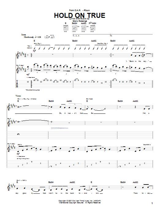 Tablature guitare Hold On True de O.A.R. - Tablature Guitare